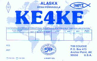 KE4KE QSL Card while at KNLS Shortwave